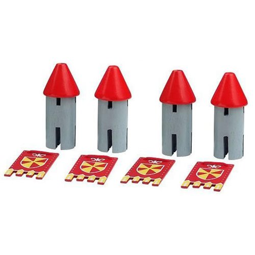 RED TURRETS WITH HERALDIC BANNERS