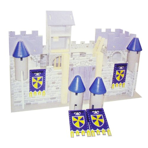 BLUE TURRETS WITH HERALDIC BANNERS